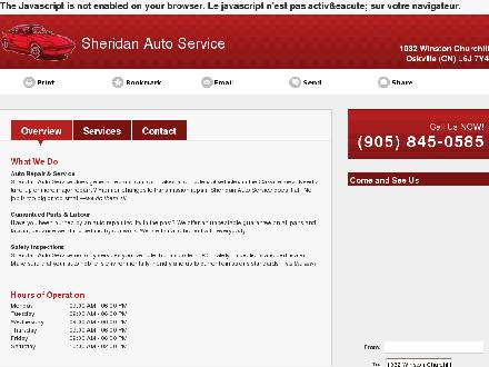 Sheridan Auto Service (905-845-0585) - Onglet de site Web - http://www.sheridanauto.ca