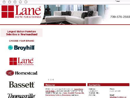 Lane Home Furnishings (709-576-2560) - Website thumbnail - http://lanefurniture.ca/