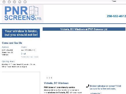 P N R Screens Ltd (250-652-4612) - Website thumbnail - http://pnrscreens.ca/