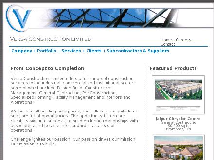 Versa Construction Ltd (905-760-8002) - Onglet de site Web - http://www.versaconstruction.com