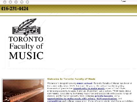 Toronto Faculty Of Music (647-494-3524) - Onglet de site Web - http://www.torontofacultyofmusic.com