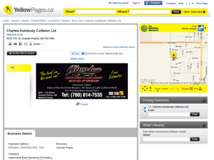 Charles Autobody Collision Ltd (780-357-7233) - Website thumbnail - http://www.7808147535.yp.ca