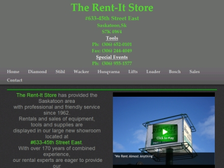 The Rent It Store (306-652-0101) - Website thumbnail - http://therentitstore.com