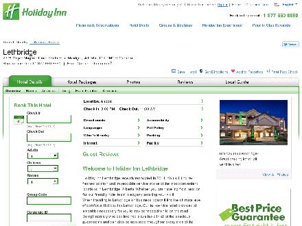 Holiday Inn Lethbridge (403-380-5050) - Onglet de site Web - http://www.holidayinn.com/lethbridge-ab