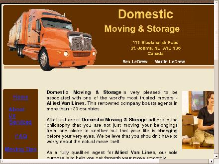 Domestic Moving & Storage/Allied Van Lines Canada Agent (709-747-5188) - Onglet de site Web - http://www.domesticmoving.ca