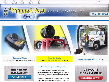 Plugged Piper Drain Service The (905-308-9346) - Website thumbnail - http://www.pluggedpiper.ca