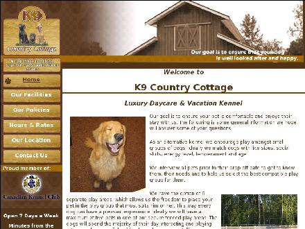K9 Country Cottage (250-656-6449) - Onglet de site Web - http://www.k9countrycottage.com