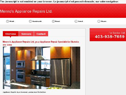 Menno's Appliance Repairs Ltd (403-938-7669) - Onglet de site Web - http://mennosappliancerepairs.ca