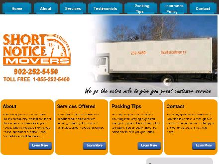 Short Notice Movers (902-252-5450) - Onglet de site Web - http://www.shortnoticemovers.ca