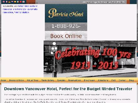 Budget Inn - Patricia Hotel (604-255-4301) - Website thumbnail - http://www.patriciahotel.ca