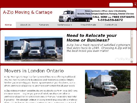 A Zip Moving & Cartage (519-659-6672) - Website thumbnail - http://www.azip.ca