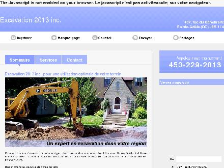 Excavation 2013 Inc (450-229-2013) - Website thumbnail - http://excavation2013.ca