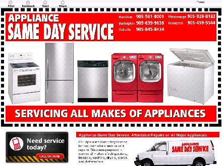 Appliance Same Day Service (905-828-8182) - Onglet de site Web - http://www.appliancesamedayservice.ca/en/
