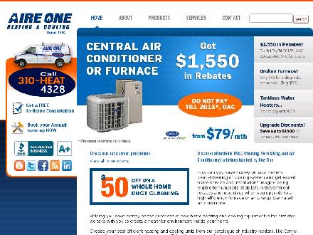 Aire One Heating &amp; Cooling (905-385-2800) - Onglet de site Web - http://www.aireone.com