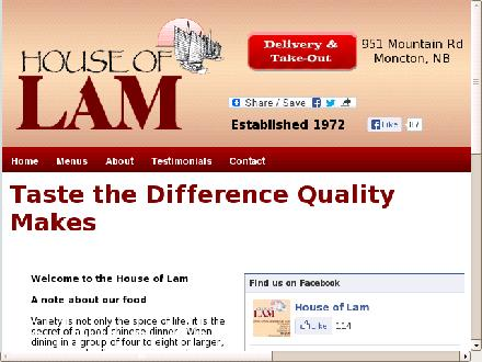 House Of Lam Restaurant (506-802-7854) - Onglet de site Web - http://www.houseoflam.com