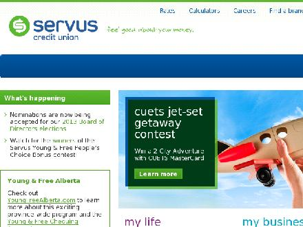Servus Credit Union (1-866-365-5201) - Website thumbnail - http://www.servus.ca