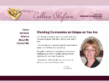 Marriages By Colleen Olafson (204-284-6861) - Onglet de site Web - http://www.marriagesbycolleenolafson.ca