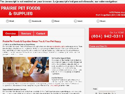 Prairie Pet Foods & Supplies (604-942-0311) - Website thumbnail - http://prairiepetfoodssupplies.com