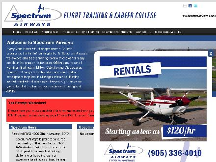 Spectrum Airways (905-336-4010) - Website thumbnail - http://www.spectrumairways.com