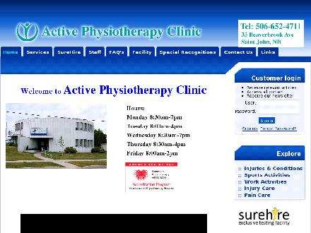 Active Physiotherapy Clinic (506-652-4711) - Website thumbnail - http://www.activephysioclinic.com