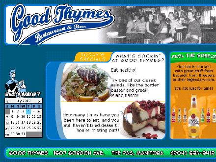 Good Thymes Restaurant &amp; Bar (204-623-2412) - Onglet de site Web - http://www.goodthymes.ca