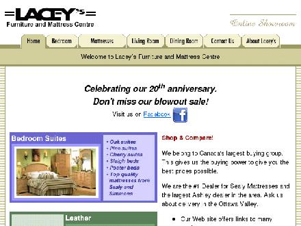Lacey's Furniture & Mattress Centre (613-284-8206) - Onglet de site Web - http://www.laceysfurniture.com