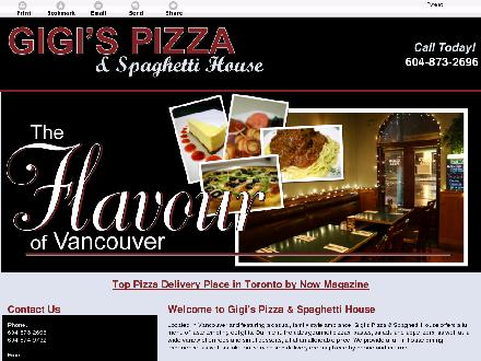 Gigi's Pizza &amp; Spaghetti House (604-873-2696) - Website thumbnail - http://gigispizzaandspaghetti.com/