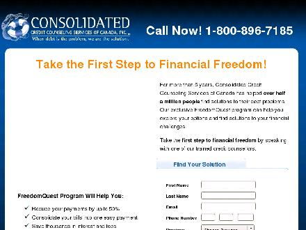 Consolidated Credit Counseling Services Of Canada Inc (1-800-896-7185) - Onglet de site Web - http://www.consolidatedcredit.ca/debt-relief/take-the-first-step/?partnerid=1355