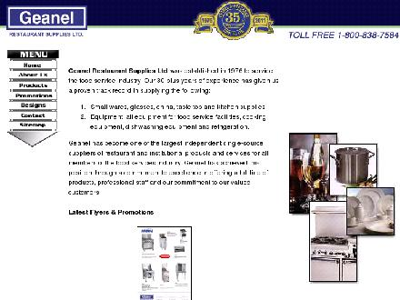 Geanel Restaurant Supplies Ltd (306-652-9886) - Onglet de site Web - http://www.geanel.com