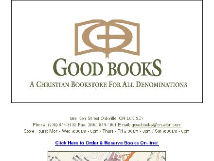 Good Books Christian Book Store (905-844-3102) - Onglet de site Web - http://www.goodbookschristian.com