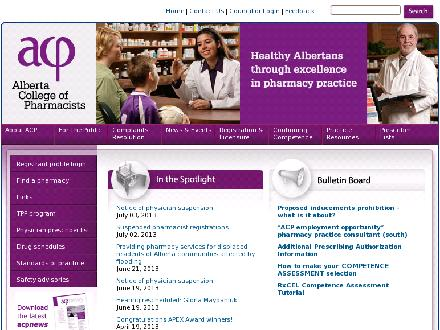Alberta College of Pharmacists (780-990-0321) - Onglet de site Web - http://www.pharmacists.ab.ca