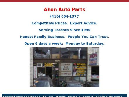 Ahon Auto Parts (647-693-9748) - Website thumbnail - http://www.ahonautoparts.ca