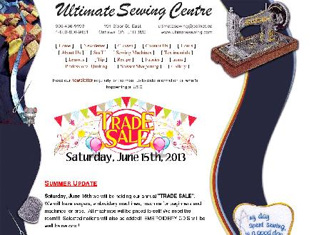 Ultimate Sewing Centre (905-436-9193) - Website thumbnail - http://www.ultimatesewing.com