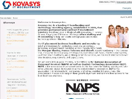Kovasys Inc It Recruitment &amp; Techology Headhunters (416-800-4286) - Onglet de site Web - http://www.kovasys.com