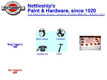 Nettleship's Hardware (416-921-3772) - Onglet de site Web - http://www.nettleships.ca