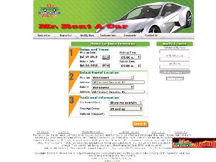 Mr Rent-A-Car (604-876-7777) - Website thumbnail - http://www.mrrentacar.com
