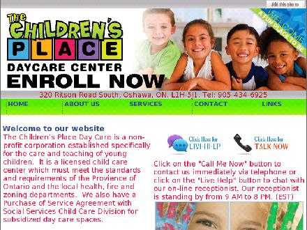 Children's Place The (905-434-6925) - Onglet de site Web - http://www.thechildrensplacedaycare.net