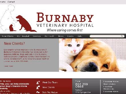 Burnaby Veterinary Hospital (604-299-0688) - Onglet de site Web - http://www.burnabyvet.com