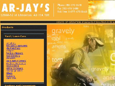 Ar-Jay's Lawn Garden & Snow Equipment Ltd (780-476-0448) - Website thumbnail - http://www.arjays.ab.ca