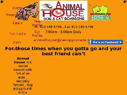 Animal House Dog & Cat Boarding (403-548-6796) - Website thumbnail - http://www.animalhousedogandcatboarding.com
