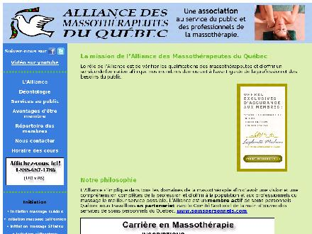 Alliance des Massoth&eacute;rapeutes du Qu&eacute;bec (450-441-1117) - Onglet de site Web - http://www.massotherapeutes.qc.ca