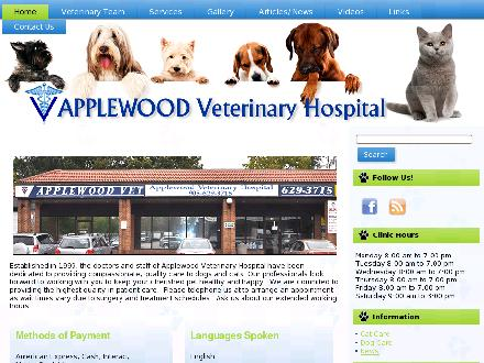 Applewood Veterinary Hospital (905-629-3715) - Website thumbnail - http://www.applewoodvets.com