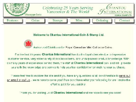 Chantou International Coin & Stamp (604-321-7447) - Onglet de site Web - http://www.chantou.com