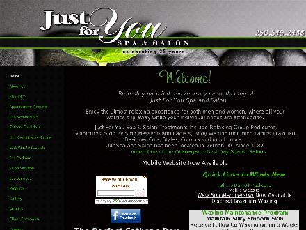 Just For You Spa & Salon (250-549-2488) - Onglet de site Web - http://www.justforyouspaandsalon.ca
