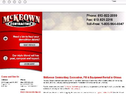 McKeown Contracting (613-909-7399) - Onglet de site Web - http://www.mckeowncontracting.com
