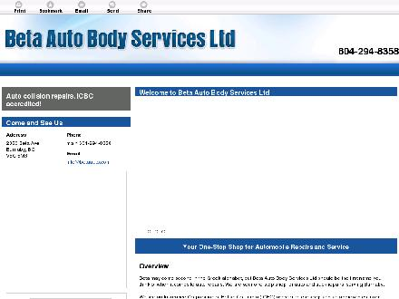 Beta Auto Body Services Ltd (604-294-8358) - Website thumbnail - http://betaauto.com