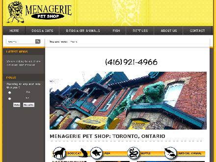 Menagerie Pet Shop (416-921-4966) - Website thumbnail - http://www.menageriepetshop.com