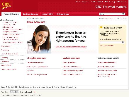 CIBC (1-866-525-8622) - Onglet de site Web - https://www.cibc.com/ca/chequing-savings/index.html