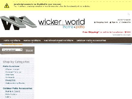 Wicker World Home & Patio (204-779-2900) - Onglet de site Web - http://www.wickerworld.ca