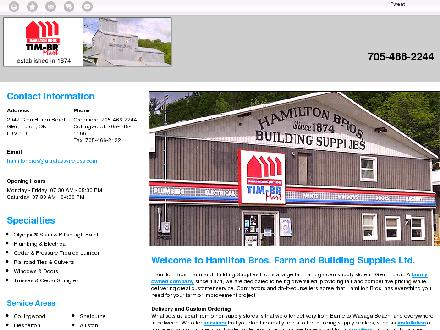 Hamilton Bros Farm & Building Supplies Ltd-TIM BR-Mart (705-999-8643) - Onglet de site Web - http://www.hamiltonbros.ca